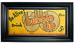 Bubble Up metal sign