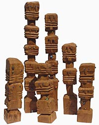 Funky carved totems