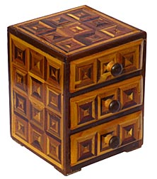 Three drawer parquetry box