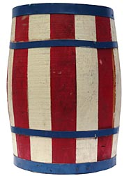 Red, white, and blue barrel