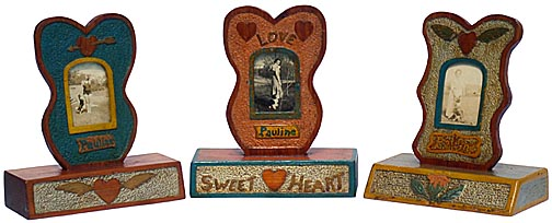 Three carved sweetheart frames