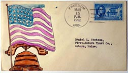 Patriotic drawing on first day cover envelope