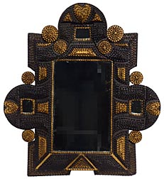 Elaborate tramp art frame with hearts and mirrors